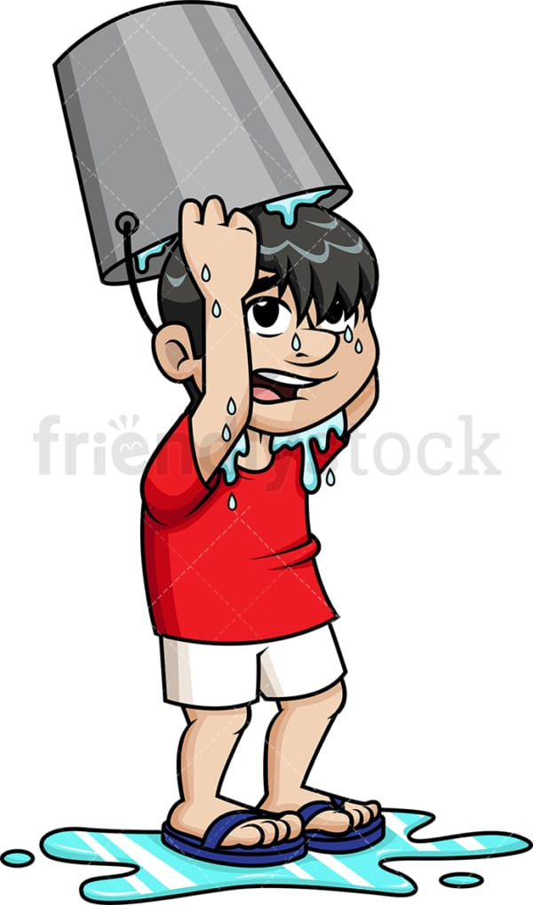 Guy pouring water on his head with bucket. PNG - JPG and vector EPS (infinitely scalable).