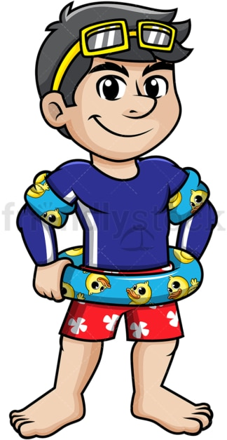 Guy wearing lifebelt and arm floats. PNG - JPG and vector EPS (infinitely scalable).