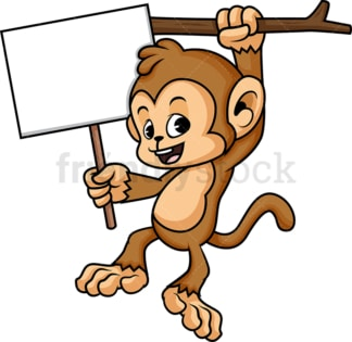 Monkey cartoon with empty billboard sign. PNG - JPG and vector EPS (infinitely scalable).