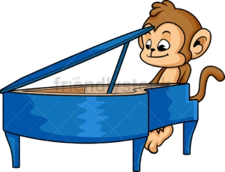 Monkey cartoon piano player. PNG - JPG and vector EPS (infinitely scalable)