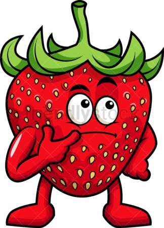 Strawberry cartoon character thinking. PNG - JPG and vector EPS (infinitely scalable). Image isolated on transparent background.
