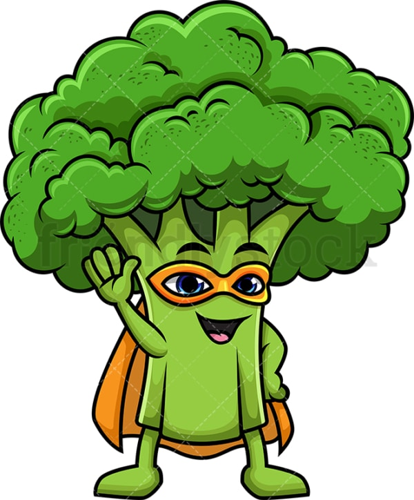 Superhero broccoli cartoon character. PNG - JPG and vector EPS (infinitely scalable).