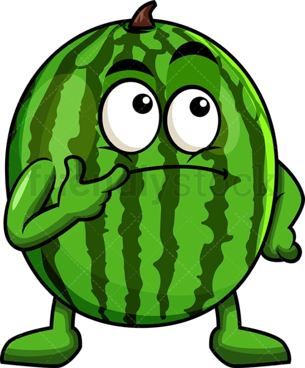 Watermelon cartoon character thinking. PNG - JPG and vector EPS (infinitely scalable). Image isolated on transparent background.