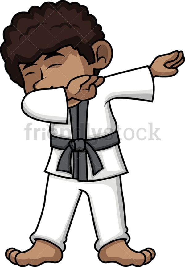 African-American karate kid doing the dab. PNG - JPG and vector EPS file formats (infinitely scalable).
