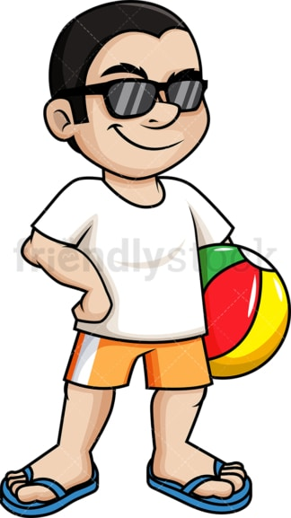Man holding beach ball. PNG - JPG and vector EPS (infinitely scalable).