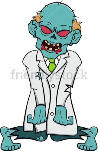Creepy zombie doctor. PNG - JPG and vector EPS (infinitely scalable). Image isolated on transparent background.