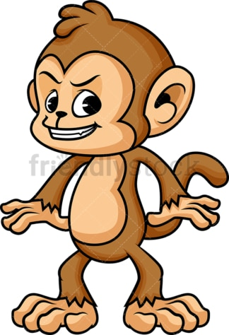 Cunning monkey cartoon character with evil look. PNG - JPG and vector EPS (infinitely scalable).