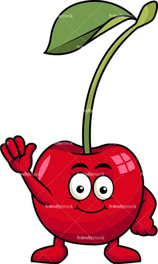 Cute cherry cartoon character waving. PNG - JPG and vector EPS (infinitely scalable). Image isolated on transparent background.