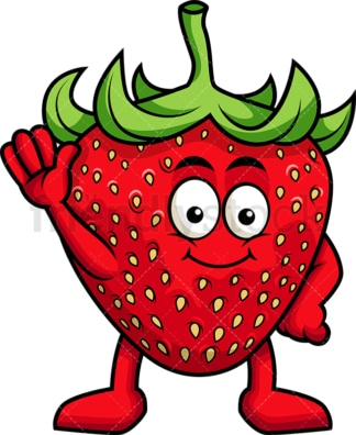 Cute strawberry cartoon character waving. PNG - JPG and vector EPS (infinitely scalable). Image isolated on transparent background.