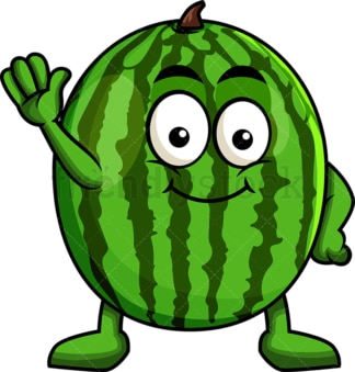 Cute watermelon cartoon character waving. PNG - JPG and vector EPS (infinitely scalable). Image isolated on transparent background.