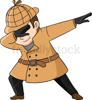 Dabbing detective. PNG - JPG and vector EPS (infinitely scalable). Image isolated on transparent background.