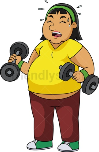 Overweight woman lifting dumbbells. PNG - JPG and vector EPS file formats (infinitely scalable).