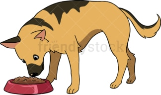 German shepherd dog feeding. PNG - JPG and vector EPS (infinitely scalable).