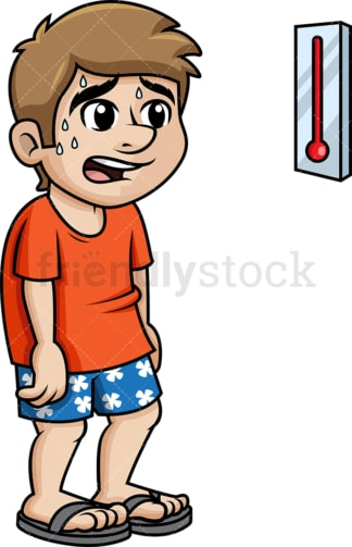 Sweating man shocked at the high temperature. PNG - JPG and vector EPS (infinitely scalable).