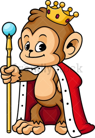 Monkey dressed as a king. PNG - JPG and vector EPS (infinitely scalable).