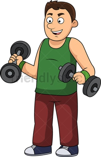 Slim man lifting weights. PNG - JPG and vector EPS file formats (infinitely scalable).