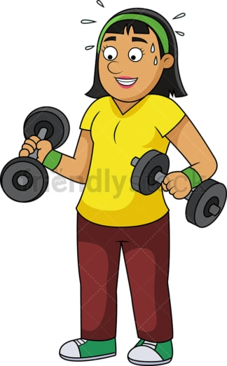 Slim woman lifting weights. PNG - JPG and vector EPS file formats (infinitely scalable).