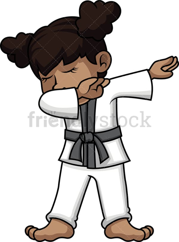 African-American karate girl doing the dab. PNG - JPG and vector EPS file formats (infinitely scalable).