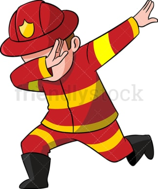 Dabbing firefighter. PNG - JPG and vector EPS (infinitely scalable). Image isolated on transparent background.