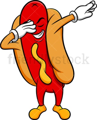 Hot dog doing the dab. PNG - JPG and vector EPS (infinitely scalable). Image isolated on transparent background.
