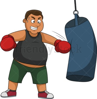 Overweight man wearing boxing gloves and training with heavy bag. PNG - JPG and vector EPS file formats (infinitely scalable).