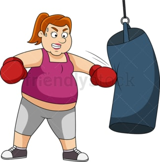 Overweight woman wearing boxing gloves and training with heavy bag. PNG - JPG and vector EPS file formats (infinitely scalable).