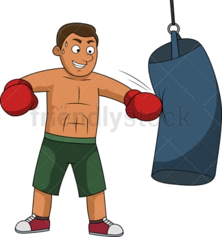 Fit man training with boxing bag. PNG - JPG and vector EPS file formats (infinitely scalable).