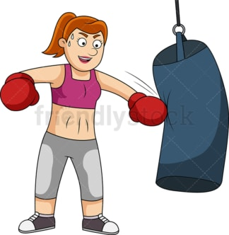 Fit woman training with boxing bag. PNG - JPG and vector EPS file formats (infinitely scalable).