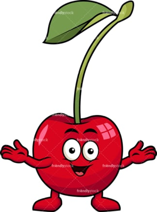 Happy cherry character. PNG - JPG and vector EPS (infinitely scalable). Image isolated on transparent background.