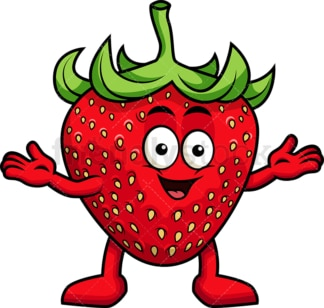 Happy strawberry character. PNG - JPG and vector EPS (infinitely scalable). Image isolated on transparent background.