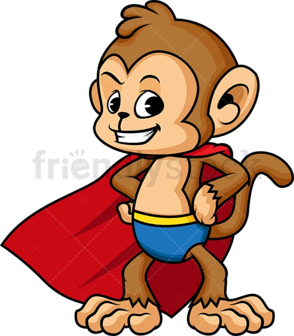 Superhero monkey cartoon. PNG - JPG and vector EPS (infinitely scalable).