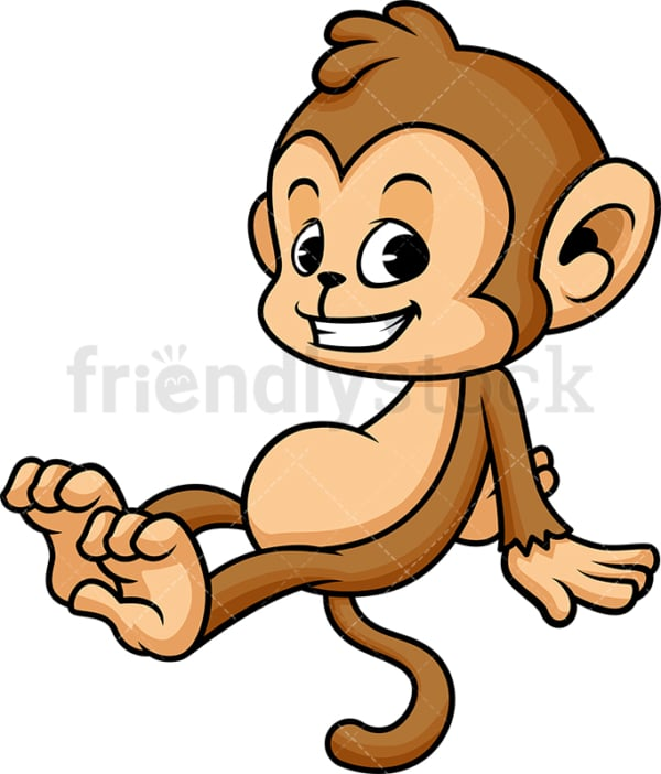 Monkey cartoon lying down. PNG - JPG and vector EPS (infinitely scalable).