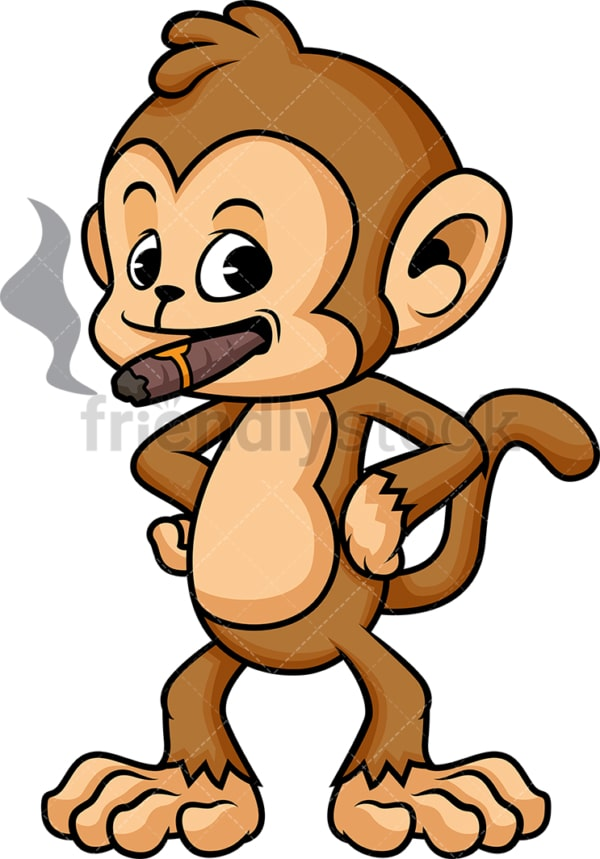 Monkey cartoon smoking cigar. PNG - JPG and vector EPS (infinitely scalable)