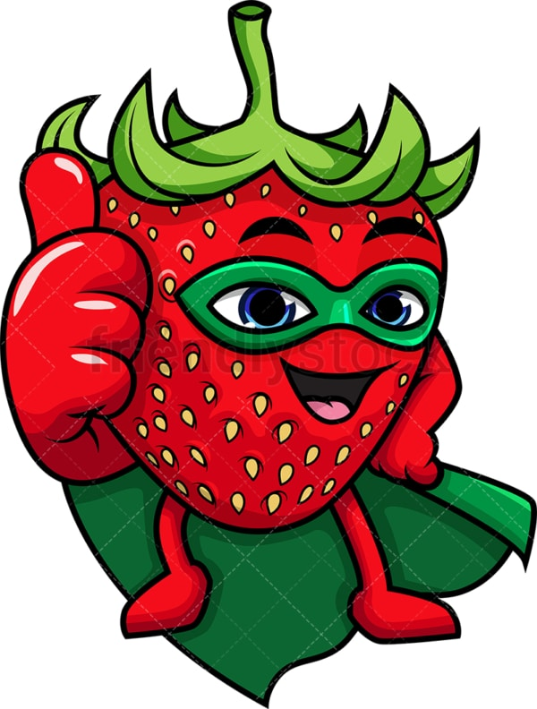 Superhero strawberry cartoon character. PNG - JPG and vector EPS (infinitely scalable).