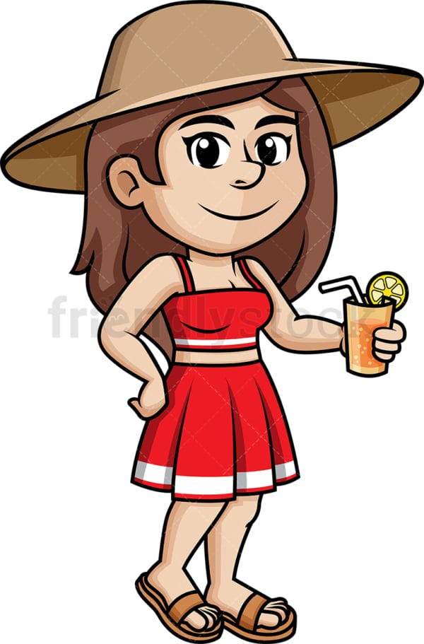 Chilled girl wearing summer hat. PNG - JPG and vector EPS (infinitely scalable).