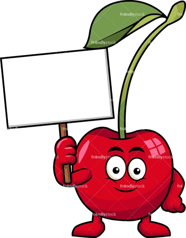 Cherry cartoon character holding blank sign. PNG - JPG and vector EPS (infinitely scalable). Image isolated on transparent background.