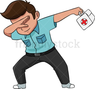 Dabbing medical professional. PNG - JPG and vector EPS (infinitely scalable). Image isolated on transparent background.