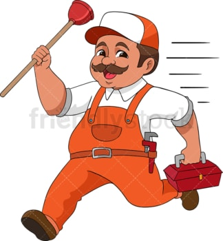 Plumber running with toilet unplugger. PNG - JPG and vector EPS (infinitely scalable). Image isolated on transparent background.