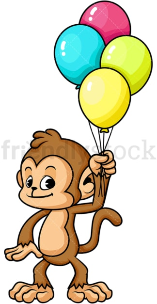 Monkey cartoon character holding balloons. PNG - JPG and vector EPS (infinitely scalable).