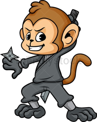 Ninja monkey cartoon. PNG - JPG and vector EPS (infinitely scalable).