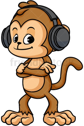 Monkey cartoon wearing headphones. PNG - JPG and vector EPS (infinitely scalable)