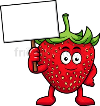 Strawberry cartoon character holding blank sign. PNG - JPG and vector EPS (infinitely scalable). Image isolated on transparent background.