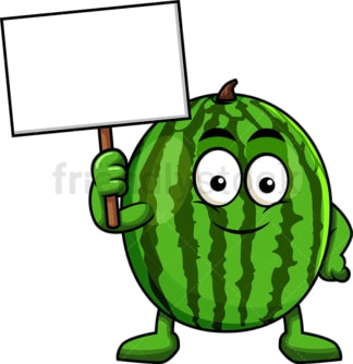 Watermelon cartoon character holding blank sign. PNG - JPG and vector EPS (infinitely scalable). Image isolated on transparent background.