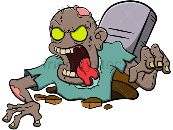 Zombie coming out of grave. PNG - JPG and vector EPS (infinitely scalable). Image isolated on transparent background.