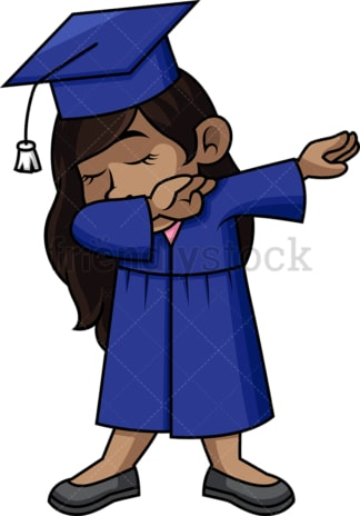 African-American female graduate doing the dab. PNG - JPG and vector EPS file formats (infinitely scalable).