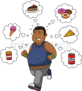 Black man running and thinking junk food. PNG - JPG and vector EPS file formats (infinitely scalable).