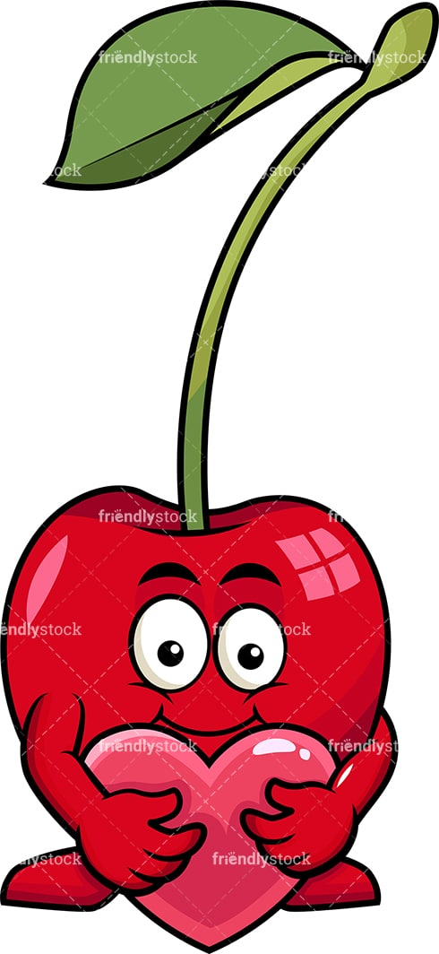 Cherry cartoon character hugging heart icon. PNG - JPG and vector EPS (infinitely scalable). Image isolated on transparent background.