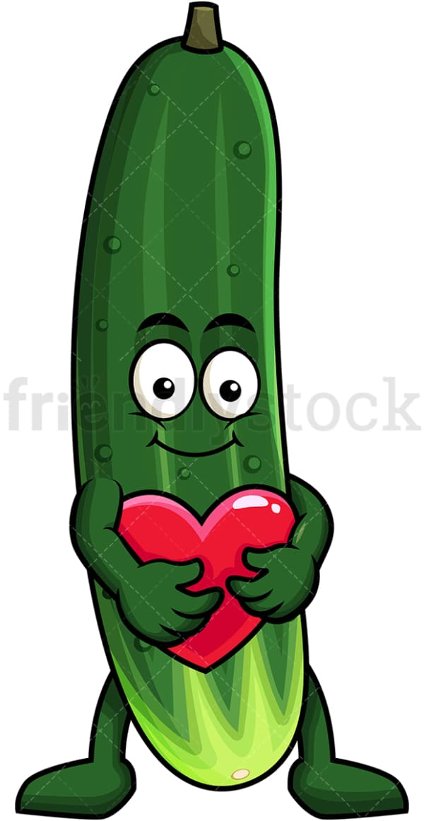 Cucumber cartoon character hugging heart icon. PNG - JPG and vector EPS (infinitely scalable). Image isolated on transparent background.