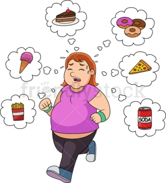 Fat woman running and thinking junk food. PNG - JPG and vector EPS file formats (infinitely scalable).