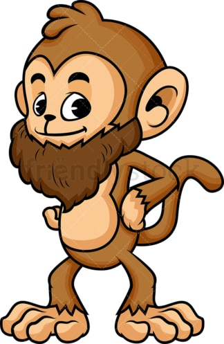 Hipster monkey cartoon with beard. PNG - JPG and vector EPS (infinitely scalable)